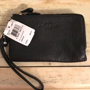 Brand new! Coach black leather wristlet